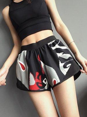 運動短褲 防走光運動短褲女寬松健身房速干薄款高腰跑步瑜伽健身褲