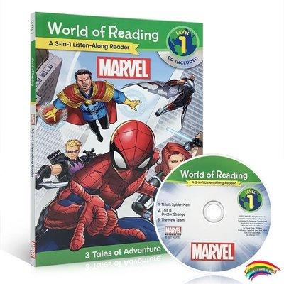 迪士尼漫威 經典有聲繪本英文原版World of Reading: Marvel 3-in-1 Listen-Along Reader 3合1分級閱讀 圖文本