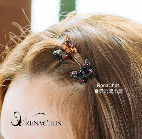 BHI1764-法國品牌RenaChris 施華洛世奇晶鑽可愛蝴蝶小鯊魚夾 抓夾【韓國製】AngelRena