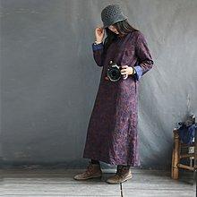 燕燕~棉麻商品~日系森林系~亞麻提花雙層加厚保暖打底洋裝 連身裙