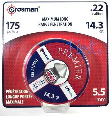 【極光小舖】美國原裝進口 Crosman 5.5mm .22cal 尖頭型鉛喇叭彈鐵盒,175顆吊卡裝 最高品質