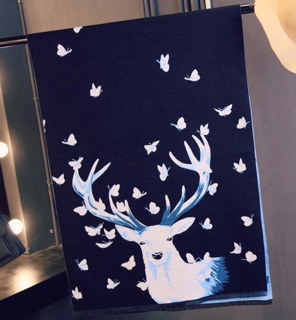 聖誕蝴蝶麋鹿圍巾秋冬季 桃心加厚長款仿羊絨披肩冬天雙面保暖女 黑