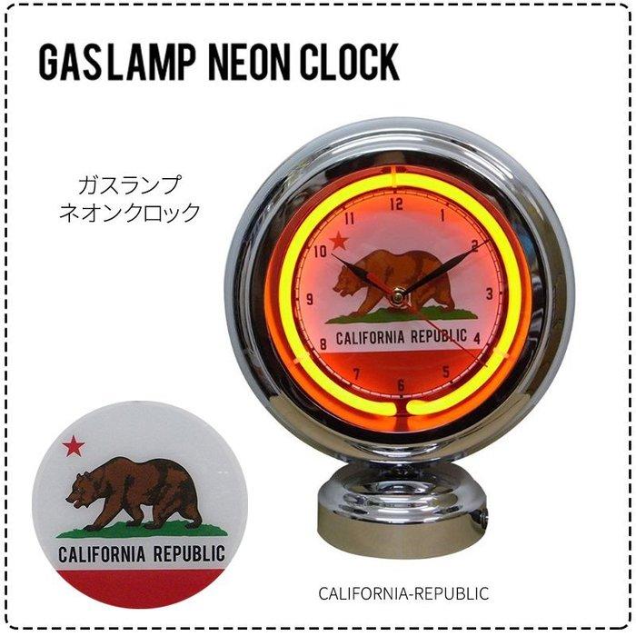 (I LOVE樂多)california republi  霓虹燈管 鋁邊外框 經典LOGO桌上時鐘 情境裝飾