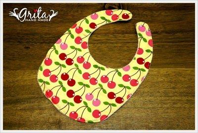 ♥gritas handmade♥純棉手作嬰幼兒圍兜兜/領巾/口水巾/三角巾/彌月禮—大櫻桃