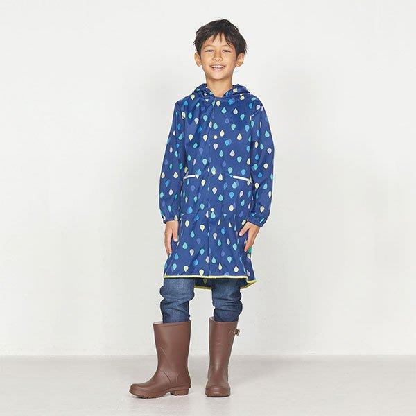 現貨!日本WPC 藍雨滴M 空氣感兒童雨衣/防水外套 附收納袋(95-120cm)