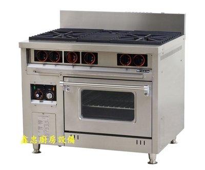 鑫忠廚房設備-餐飲設備:二主ㄧ副西餐爐熱風烤箱,賣場有工作檯-冰箱-快速爐-水槽