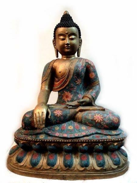 *藏雅軒*早期收藏老件-大型擺件-銅掐絲景泰藍-釋迦佛