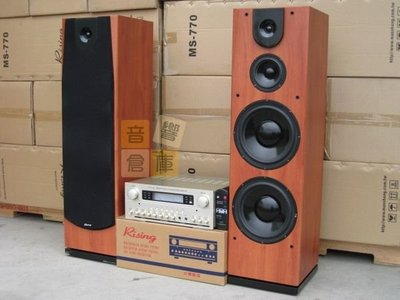 【音響倉庫】Rising 旗艦級高階專業卡啦OK組(雙10吋主喇叭MS-770)(卡拉OK擴大機GA-870)原木色