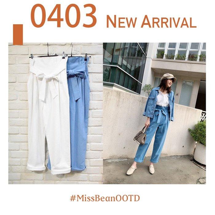 【W19032613】Aing正韓 俐落高腰 造型車線 花苞 小直筒寬褲(白藍)