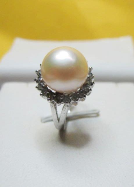 [庫存促銷品]正圓天然完美無暇南洋白透粉光珍珠11MM3A+級造型戒指