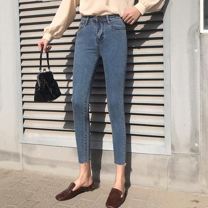 春裝新款韓版修身顯瘦緊身牛仔褲學生高腰百搭鉛筆小腳褲女潮