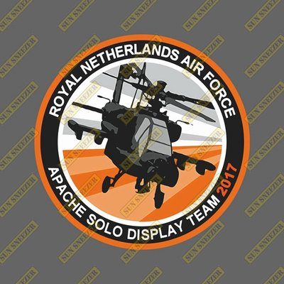 荷蘭皇家空軍 阿帕契表演中隊 2017年 圓形徽章 3M防曬防水貼紙 尺寸88mm