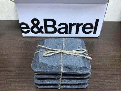 全新現貨 美國居家設計時尚品牌 美式Crate And  Barrel 美麗的手工塑形杯墊,以天然石板製成