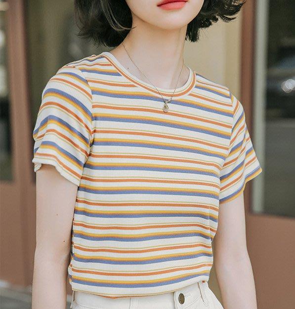 SeyeS MINI 復古率性女孩百搭單品古著彩色條紋短T