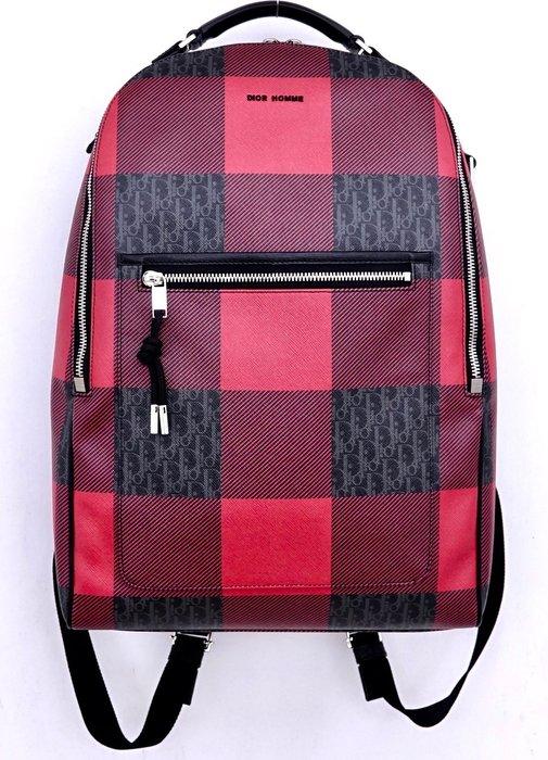 【DIOR HOMME】16AW D LOGO 紅黑格紋 後背包
