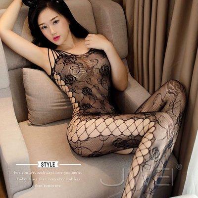【伊莉婷】戀戀霸愛 性感蕾絲鏤空網狀開襠連身貓裝-黑 JA-22180555 開襠 側邊從上兒下鏤空