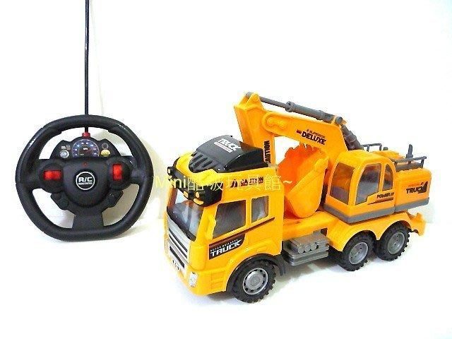 工程系列-仿真造型遙控貨卡挖土車-挖土機-遙控車-工程車