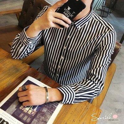 【Y213】SMILE-熟男時尚.秋季男條紋長袖襯衫上衣
