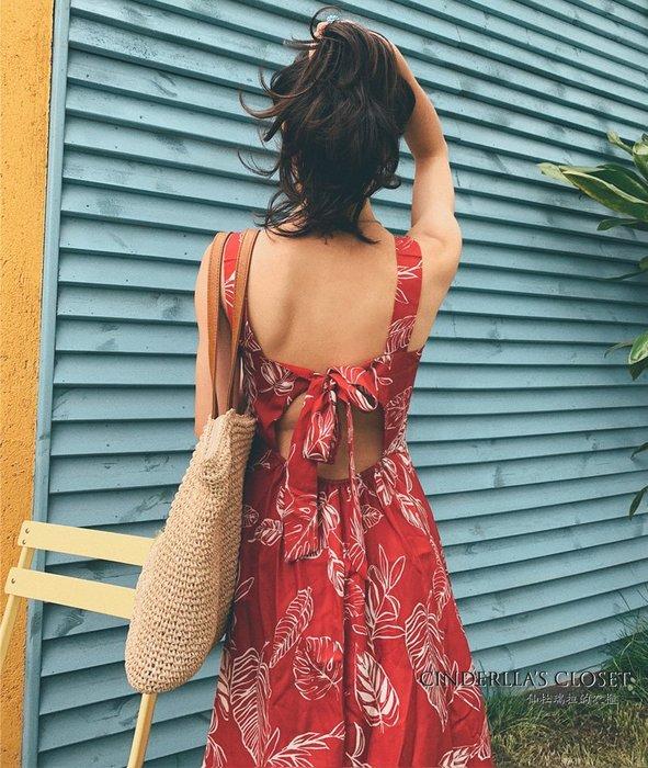《仙杜瑞拉的衣櫃》sk1124 橘紅色印花 綁帶式露背 無袖連身裙