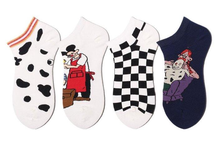 卡通插畫純棉短襪  隱形襪  棉襪  黑色  白色  搞怪創意   女襪  格紋  運動襪  襪子【小雜貨】