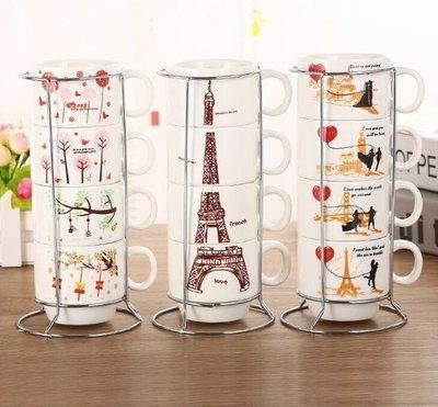 【NF360】陶瓷疊疊杯 四人分享杯 新款創意卡通疊疊配鐵架杯 咖啡杯 咖啡分享杯 咖啡廳