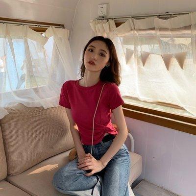 小香風 短袖T恤 時尚穿搭 韓版 基礎款不規則百搭圓領扭結短款短袖T恤女上衣潮