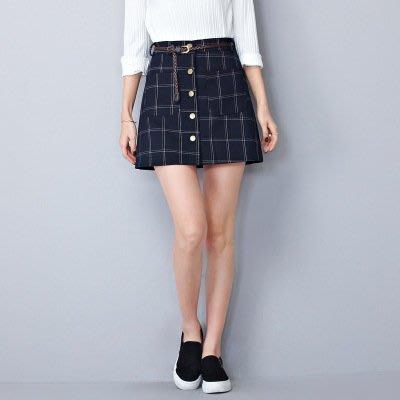 m英倫風A字裙高腰單排扣格子短裙半身裙(藍色格子)(M) J-13207