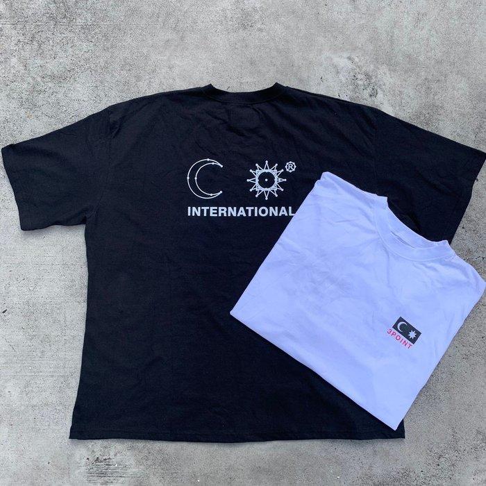 【inSAne】韓國購入 / 線條 / 太陽 / 月亮 / 短袖 / 單一尺寸 / 黑色 & 白色