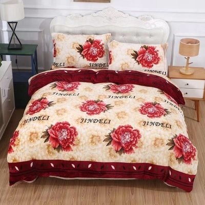 【GiGi居家寢飾生活館】法蘭絨 單人3.5尺 鋪棉床包被套組-花花世界~免運費~