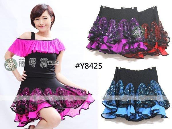 @~薩瓦拉 : 多色_Y8425_玫瑰花緞雙層滾邊短裙(有安全褲)
