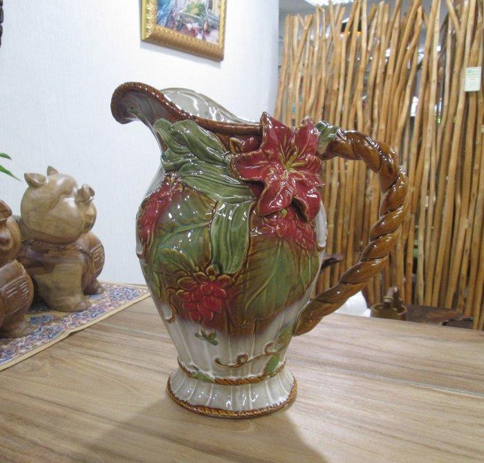 【肯萊柚木傢俱館】義大利進口 異國風情  鄉村風格 手工捏製 陶瓷花瓶