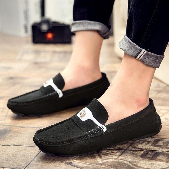 豆豆鞋 真皮磨砂休閒鞋 一腳蹬套腳懶人鞋nx2322 【創意家居】