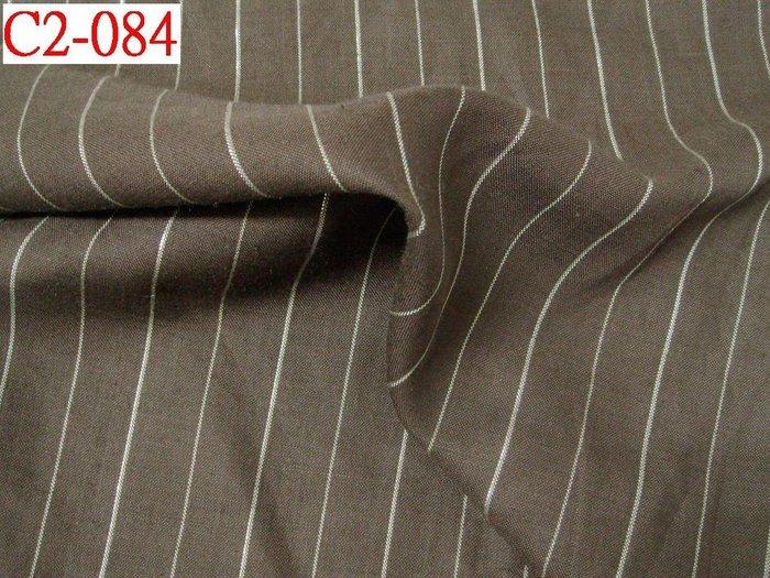(特價10呎300元)  布料布飾拼布批發零售【CANDY的家2館】精選布料 C2-084 ☆麻紗咖啡銀蔥條洋裝褲料☆