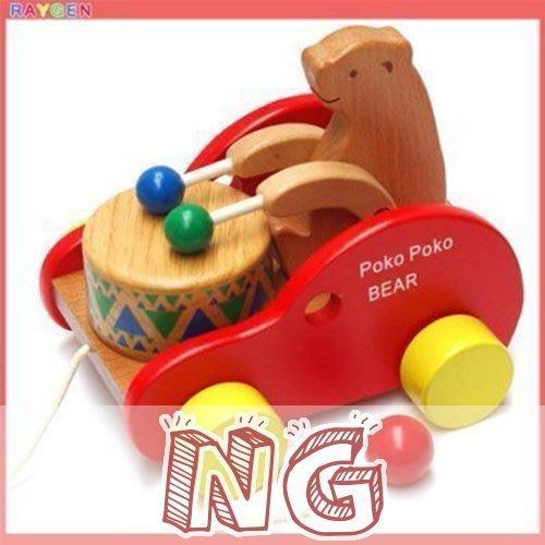 *瑕疵特賣*八號倉庫 小熊敲鼓兒童拖拉木製玩具車 早教創意益智12個月 學步【8T1F159NG】