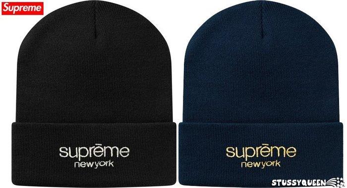 【超搶手】全新正品 2015 秋冬 Supreme Metallic Classic Logo Beanie 刺繡 毛帽