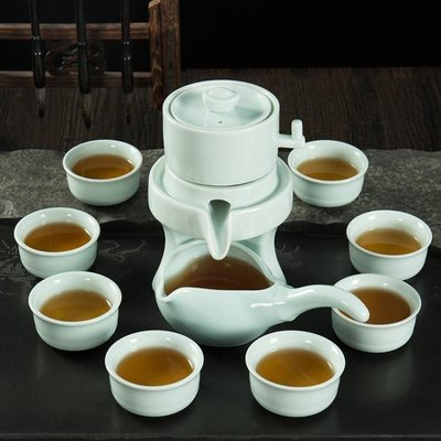 青瓷半全自動懶人泡茶器陶瓷石磨家用喝茶茶具茶壺茶杯套裝 【風水擺件】