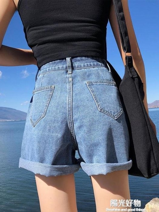 寬鬆高腰牛仔短褲女夏新款韓版顯瘦闊腿網紅a字熱褲潮ins外穿