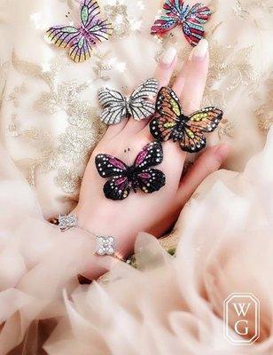 :::W.G:::歐美動物系列七彩蝴蝶紛飛花園戒指別針 VAN CLEEF
