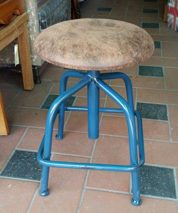 美生活館 全新 工業 LOFT 風格 鐵管 藍色刷舊 仿舊皮坐面 四腳 吧檯椅 旋轉椅 吧椅 店面 入宅 民宿 拍照美甲