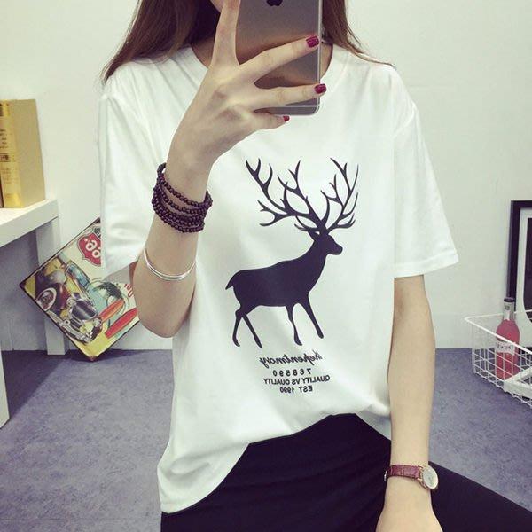 (全館一件免運費)ZUCAS - 韓版經典百搭寬鬆小鹿短袖T恤女(T-075)均碼