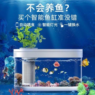 鱼缸畫法幾何智能魚缸Pro版客廳小型桌面創意生態超白亞克力金魚草缸