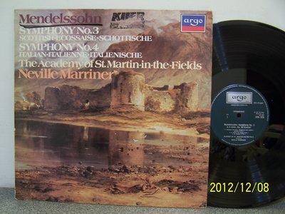 【ARGO LP名盤】2313.孟德爾頌:第3,4號交響曲,馬利納/聖馬丁學院室內樂團
