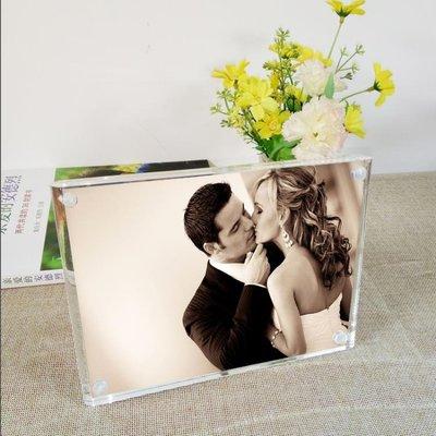 創意亞克力相框立體水晶相框擺臺7寸8寸6寸帶支架現代簡約可刻字