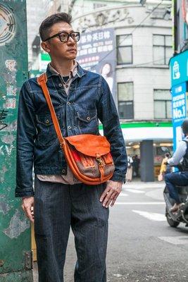 就是愛古著日本STURDY LUGGAGE SUPPL 櫪木多脂革軍毯拼接探險家背包(二色)