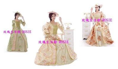 【玫瑰生活館】~~歐洲宮廷古典婚紗,歐洲貴族禮服,粉,咖啡,綠,金,紅.