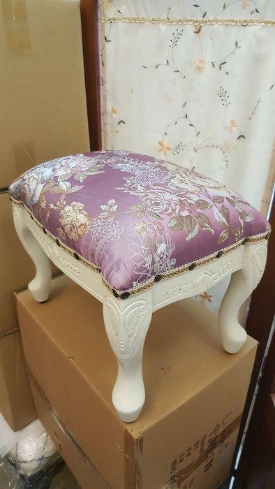 歐式鄉村風桃花心木洗白色虎腳造型椅凳