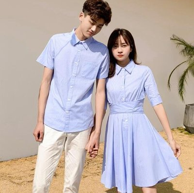 情侶裝 韓版洋裝 百搭短袖襯衫 連身裙—莎芭
