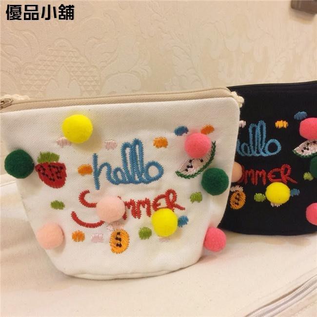 韓版手工糖果毛絨球棉布帆布炫彩繡花兒童斜挎包童裝配飾包包 優品小鋪