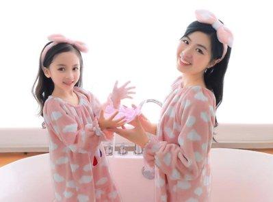 女童睡衣 兒童珊瑚絨睡裙女孩公主女童長袖加厚加長款法蘭絨親子睡衣