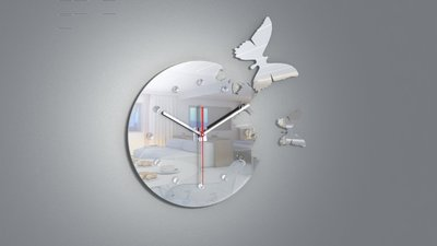 "【Timezone Shop】14""新設計縷空鏡面蝴蝶鐘 時鐘/掛鐘/clock/壁鐘出口庫存出清"